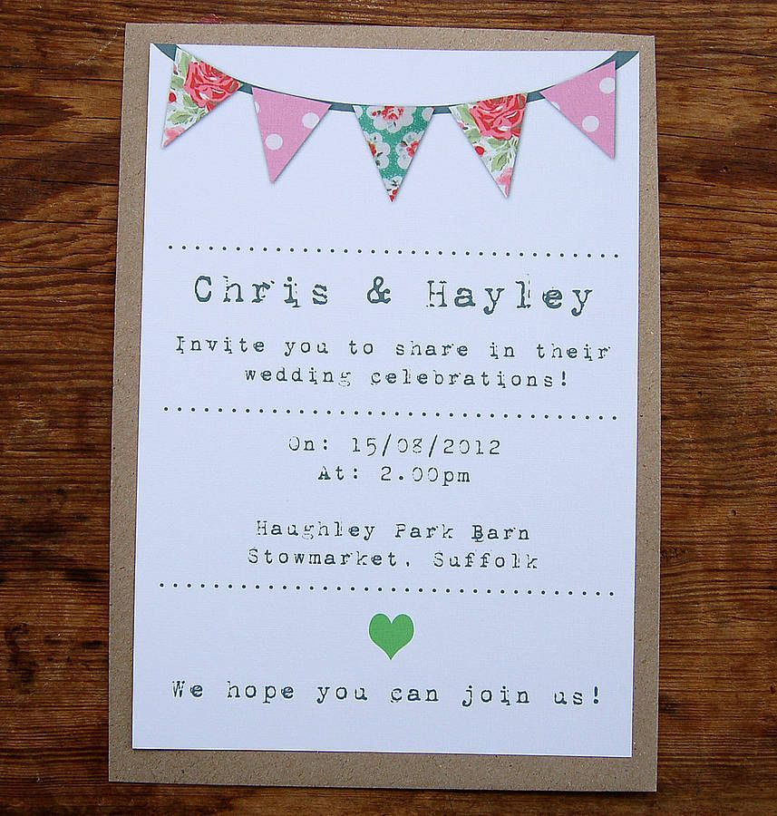 invitation bunting typewriter font Wedding Invitation