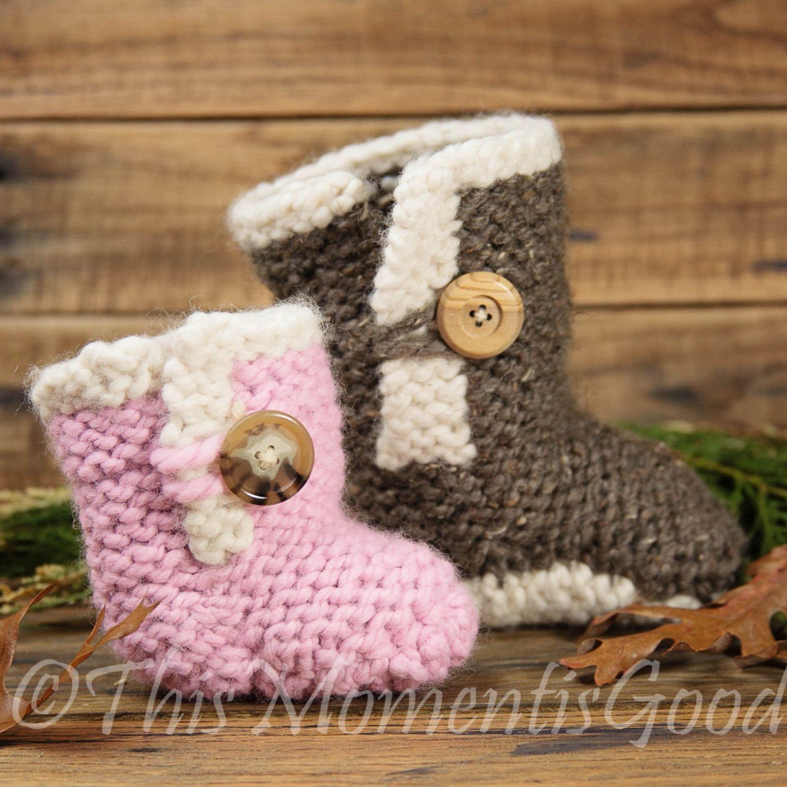 Loom Knit Baby Boots PATTERN! Loom Knit Baby Shoe Pattern in 2 Sizes ...