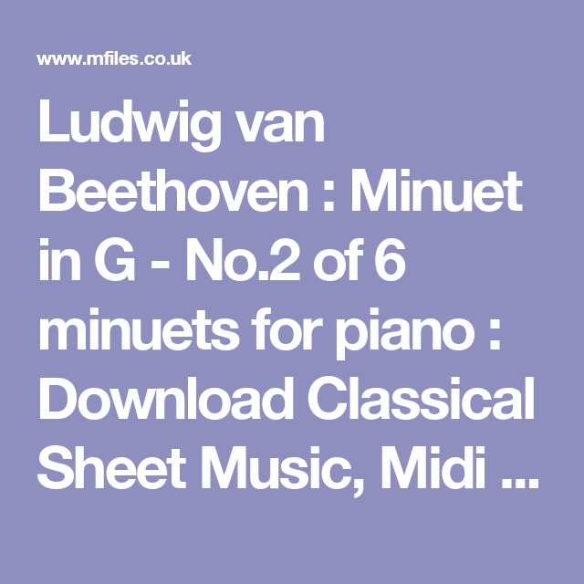 Ludwig van Beethoven : Minuet in G - No 2 of 6 minuets for