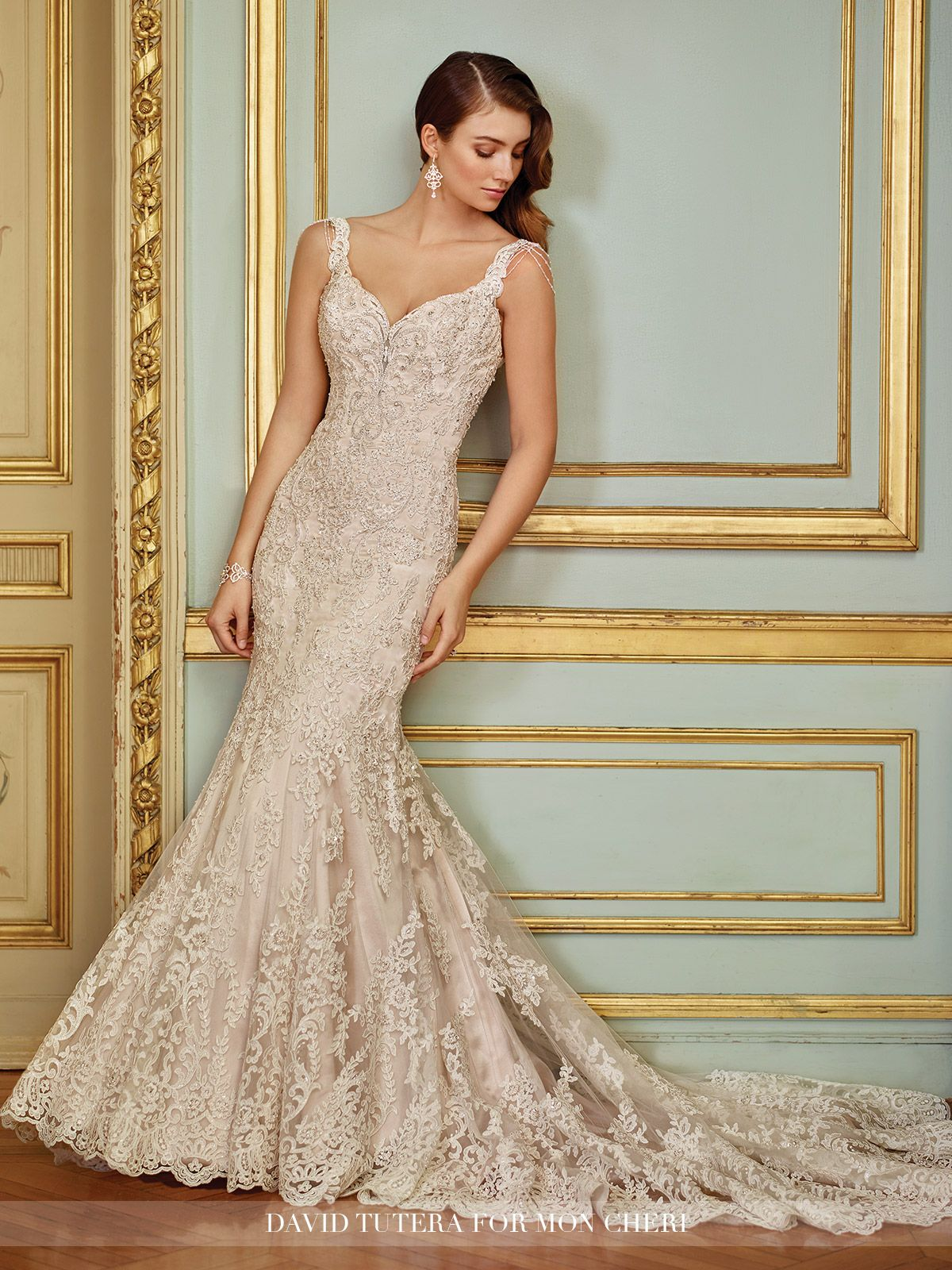 Vintage Lace & Beaded Trumpet Wedding Dress- 117288 Ophira ...