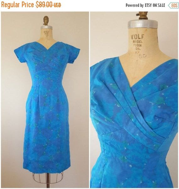 20% OFF SALE Vintage 1960s Dress / Fitted Cocktail Dress / Blue Dress / Blue Floral Chiffon Dress / Small by ThriftyVintageKitten on Etsy https://www.etsy.com/listing/516487431/20-off-sale-vintage-1960s-dress-fitted