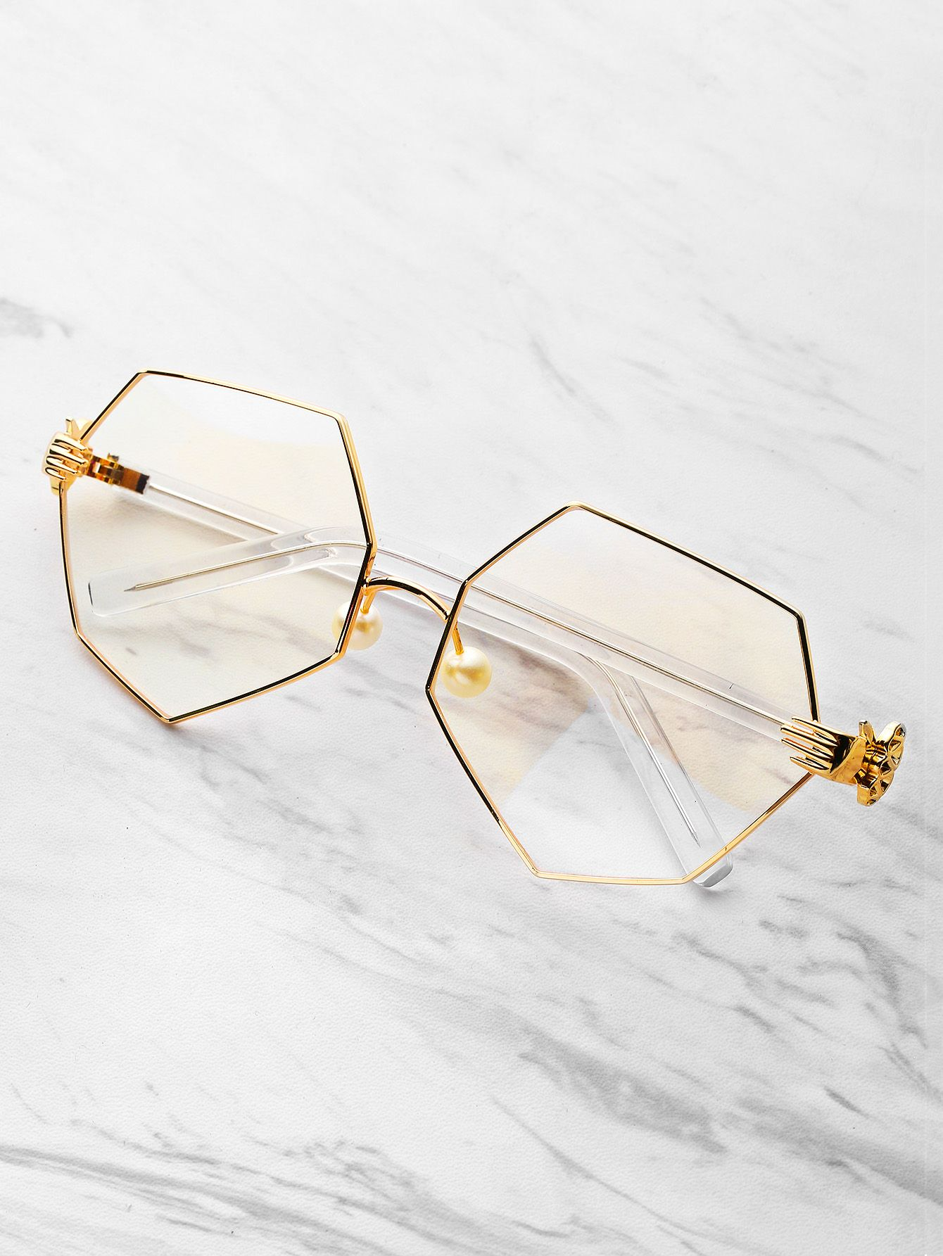 aeef9ee38d Shop Palm Detail Polygon Glasses With Clear Lens online. SheIn offers Palm  Detail Polygon Glasses With Clear Lens   more to fit your fashionable needs.