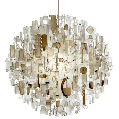 Lámpara Realizada Con Todo Tipo De Objetos De Plástico 19bis Com Disenos De Unas Lámparas De Techo Objetos De Plastico