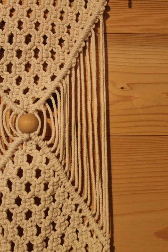 Macrame wall suspension cotton and wood bead by Sinaboudalily