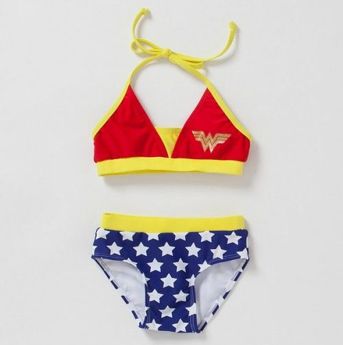 Toddler Girls Two Piece Wonder Woman Bathing Suit Swimsuits For