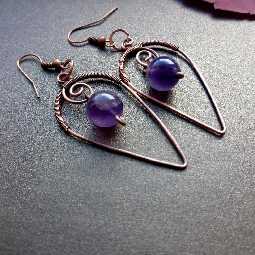Wire Wrapped Purple Earrings Bead Amethyst Earrings February Birthstone. Sterling silver Amethyst Dangle Earrings Boho Silver Earrings
