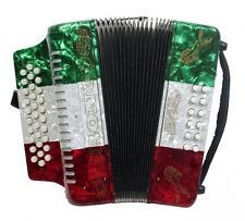 Rizatti Bronco RB31GM Diatonic Accordion-Mexican Flag-Key G/C/F w/ Padded Bag. D