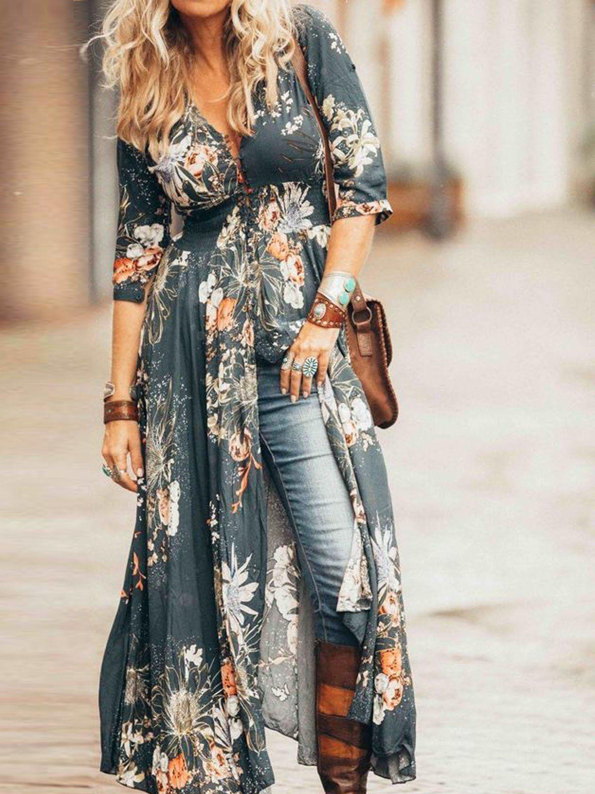 3 4 Sleeve Floral Boho Chic Maxi Dress Fullfitting Maxi Dress Boho Chic Boho Chic Dress Boho Outfits [ 1600 x 1200 Pixel ]