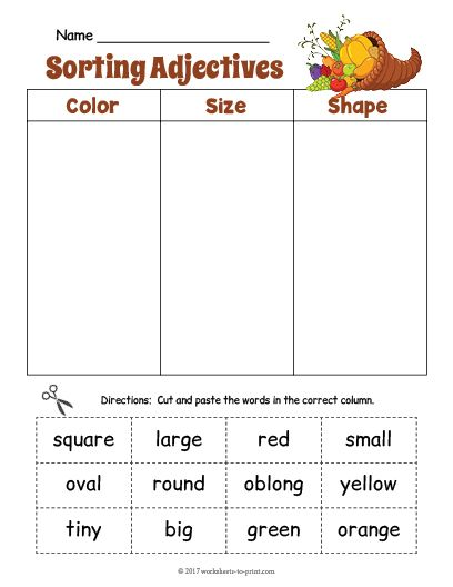 Free Printable Cornucopia Adjective Sorting Worksheet