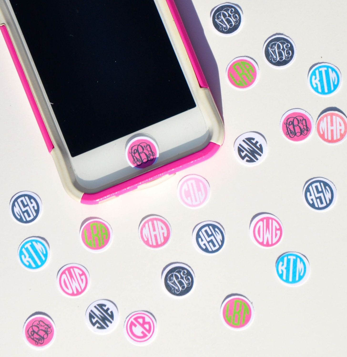 personalized  custom monogrammed iphone ipod ipad home button stickers
