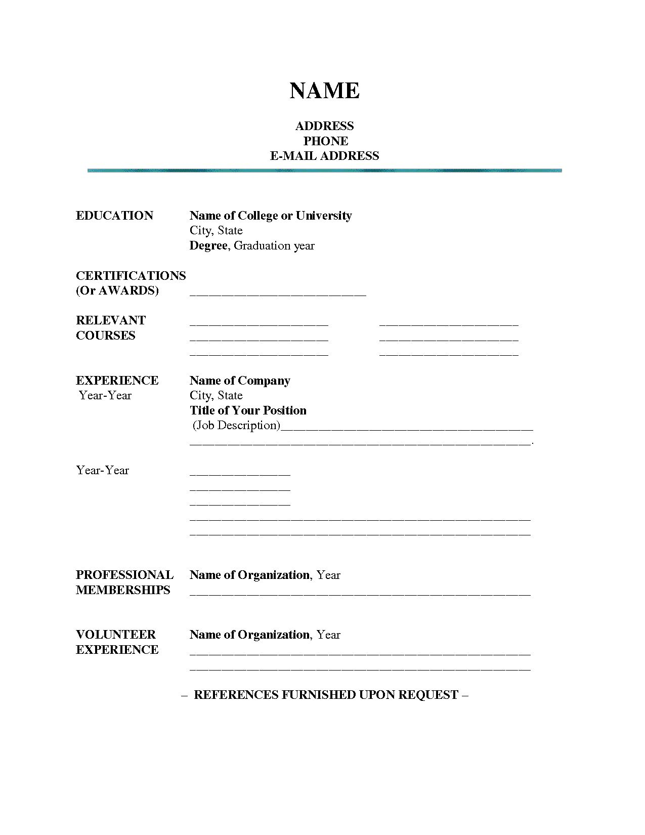 Resume Format Blank Blank Format Resume Resumeformat