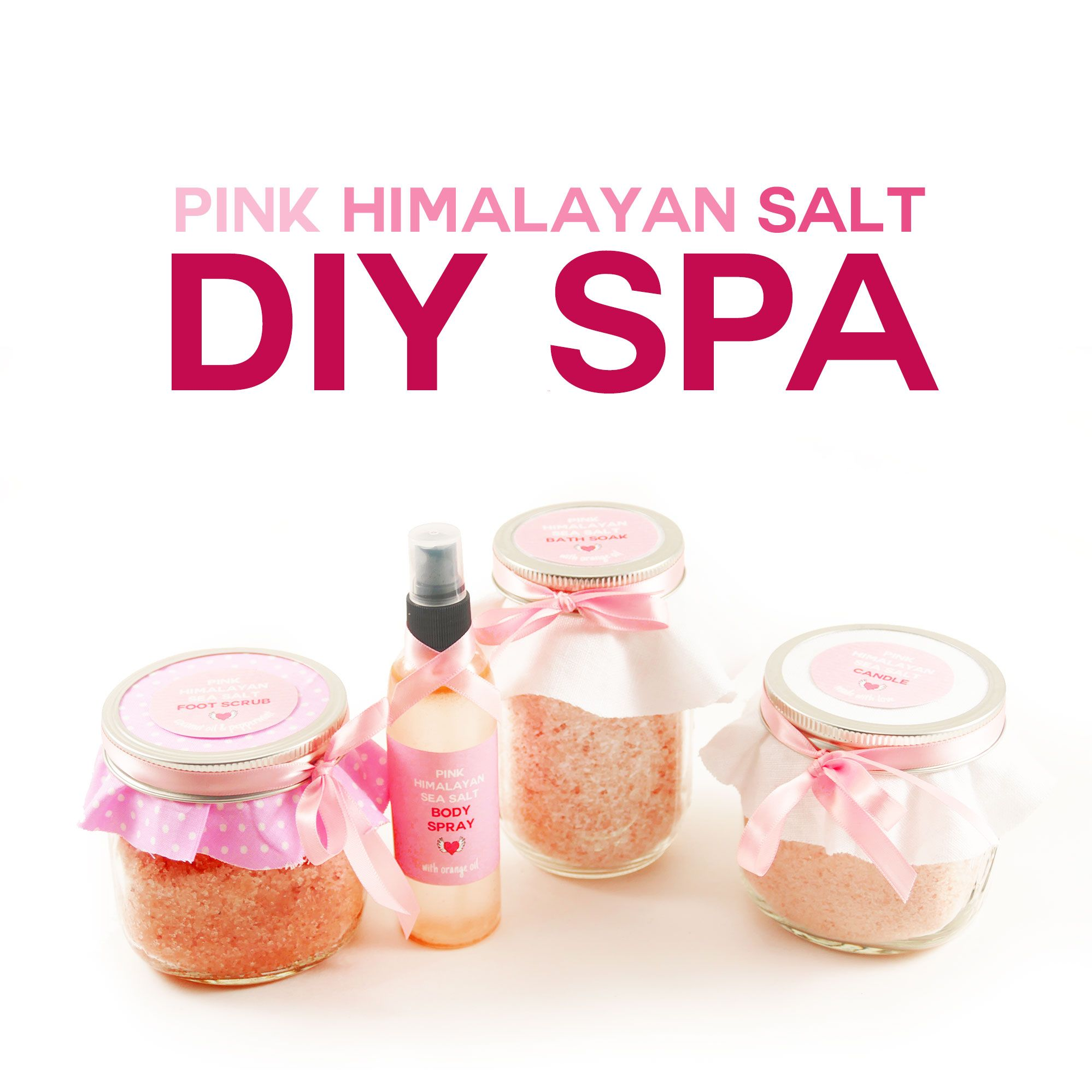 Learn how to make DIY pink Himalayan salt spa bath soak, foot scrub, body spray, and aromatherapy candle! Put them together to make a spa gift basket!