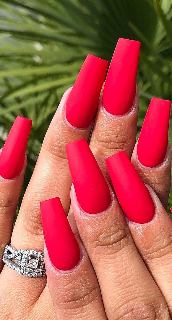 30 Acrylic Polish Matte And Simple Red Nail Designs Page 9 Of