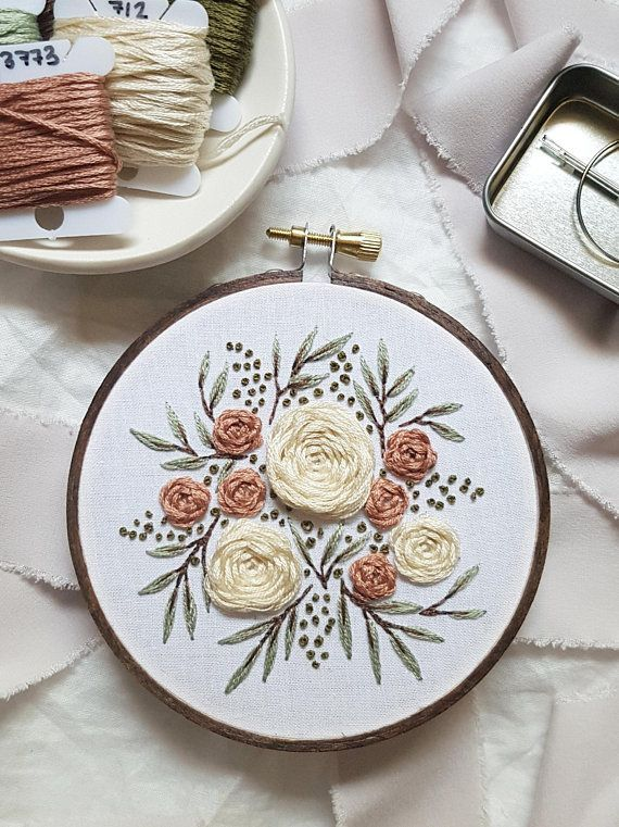 Embroidery FULL kit pink Summer Florals for beginners - Welcome to Blog