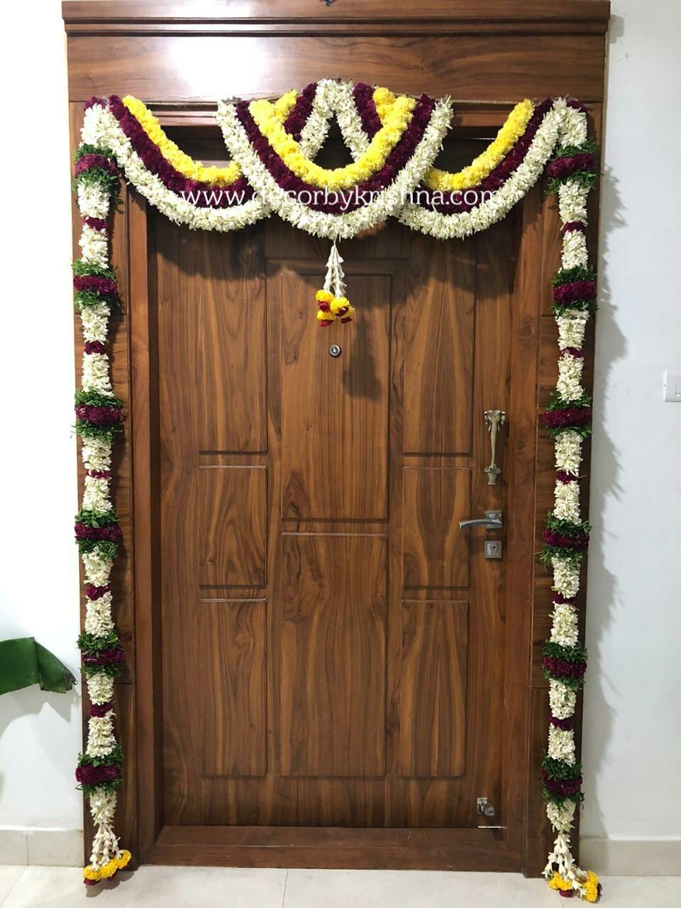 Main Door Decor Hanging Floral Decor Pooja Room Door Design Indian Floral Decor