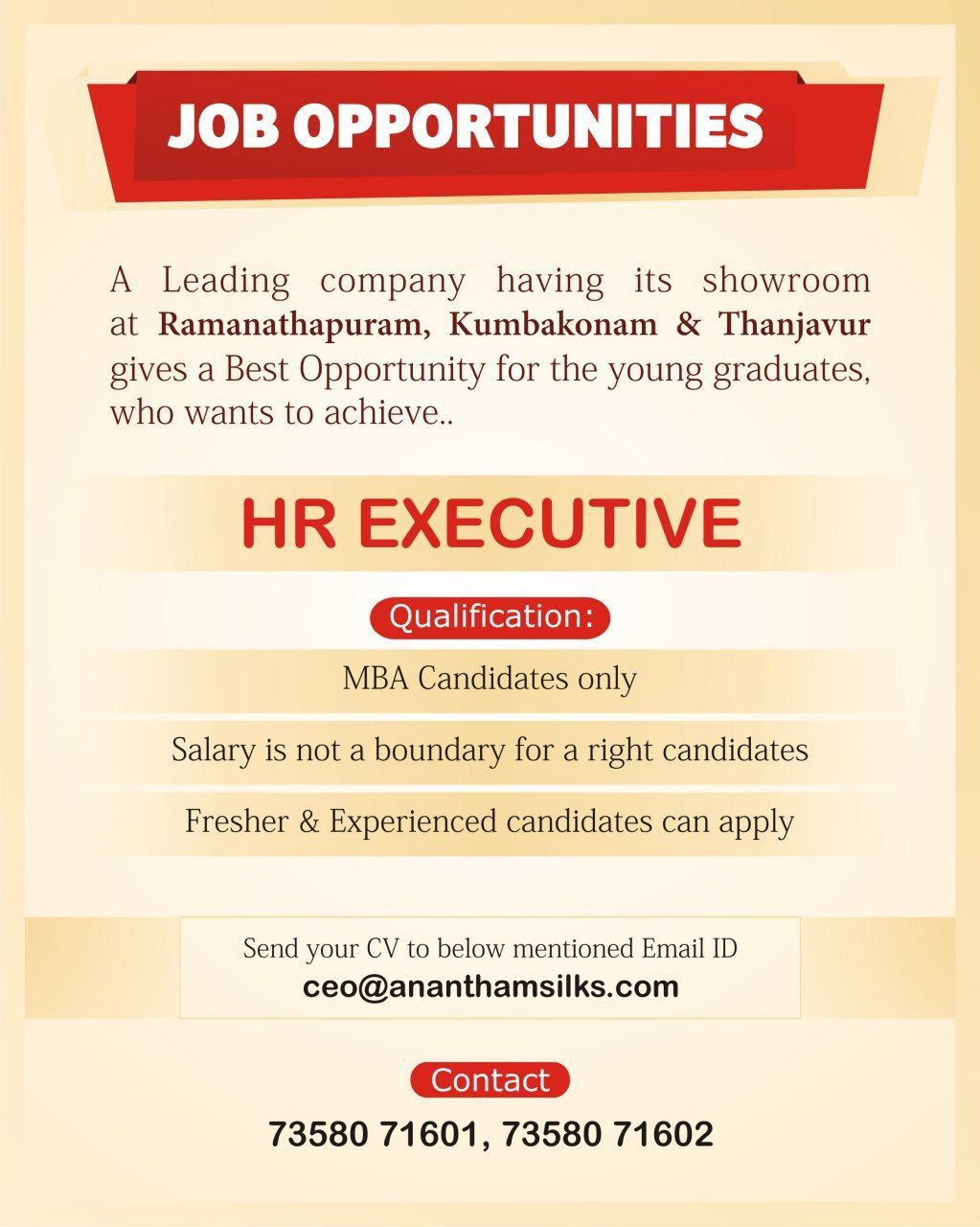 Job Opportunities Anantham Silks Wanted Hr Executive Job