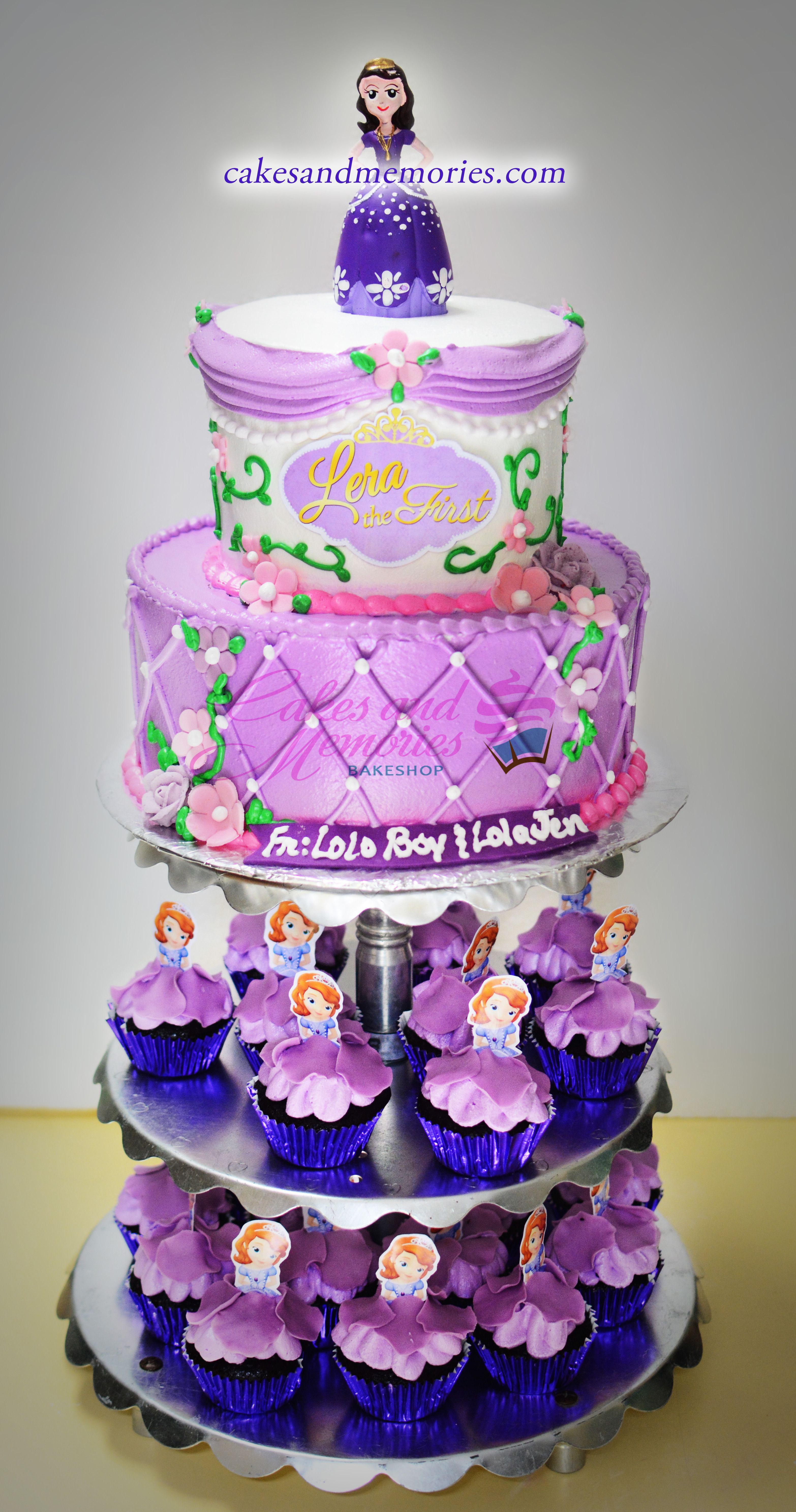 Sofia The First 2 Tier Cake With Sofia Cupcakes Girls