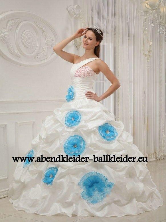 Blumen Kleid Abend - Ballkleid Brautkleid in Weiss
