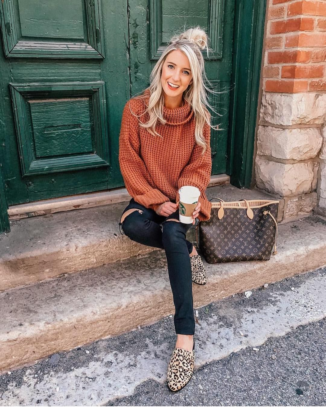 'Retta' Cognac Ribbed Cropped Turtleneck Sweater #falloutfits2019