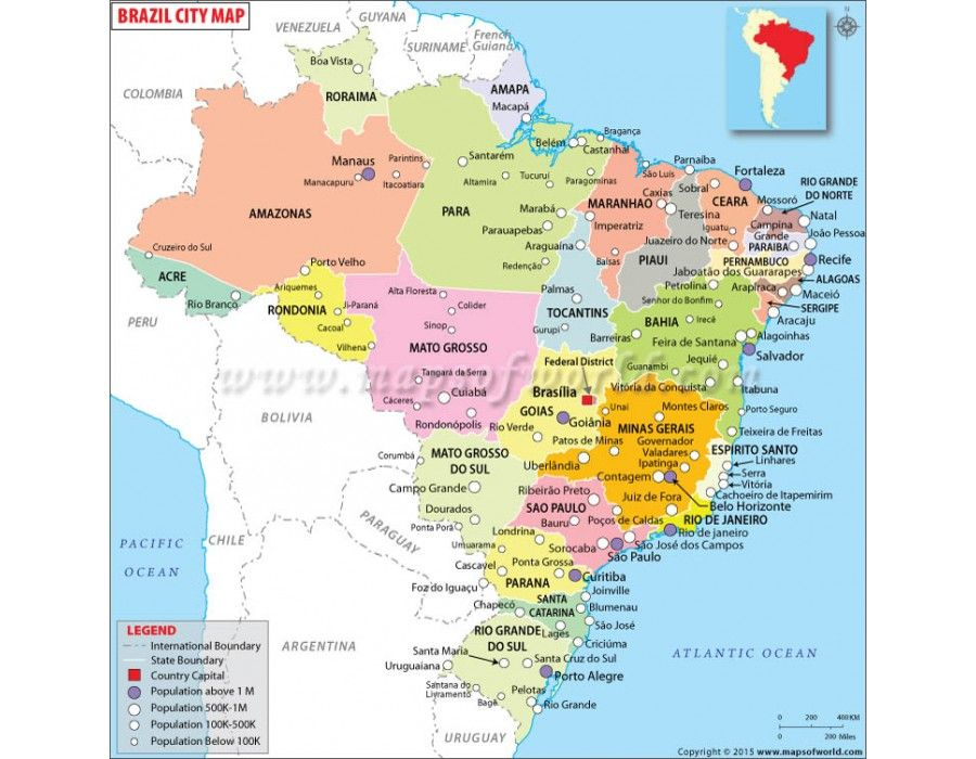 Buy Brazil Map with Cities in editable vector format | Country Maps ...