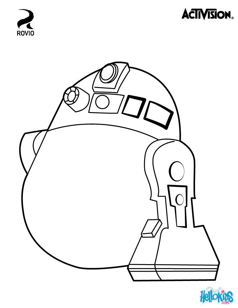 Ausmalbilder Angry Birds Space: Space Egg: R2-D2. Original Coloring Page About Angry Birds
