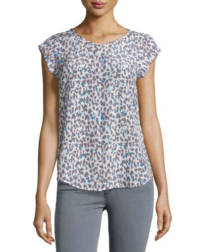 1e4e9d7bc3 JOIE Iva Printed Cap-Sleeve Silk Top