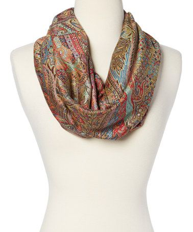 Loving this Jewel Tone Floral Paisley Infinity Scarf on #zulily! #zulilyfinds