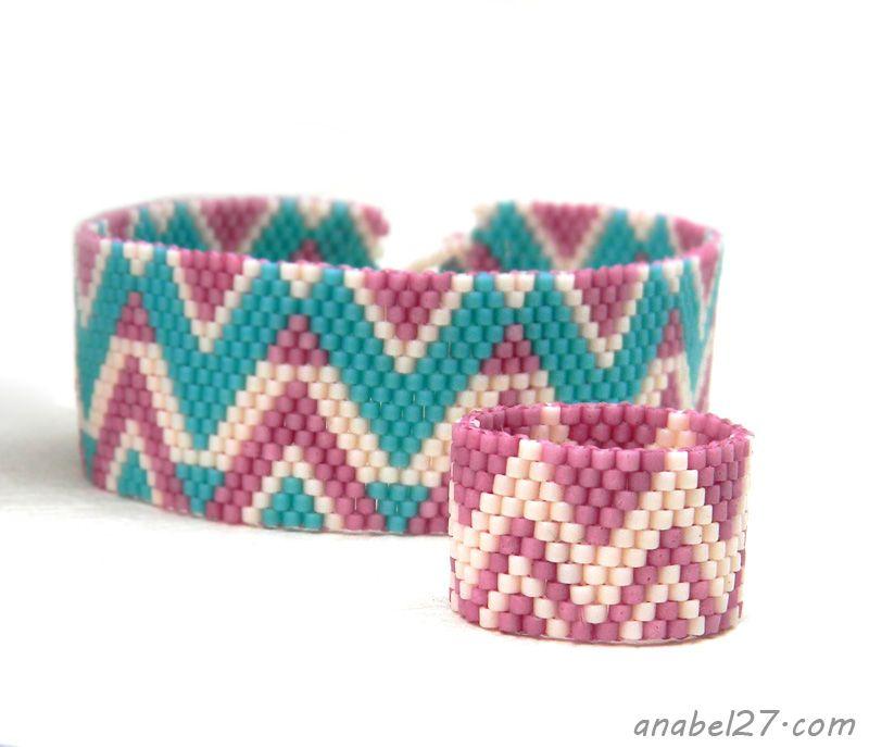 Beaded bracelet and ring