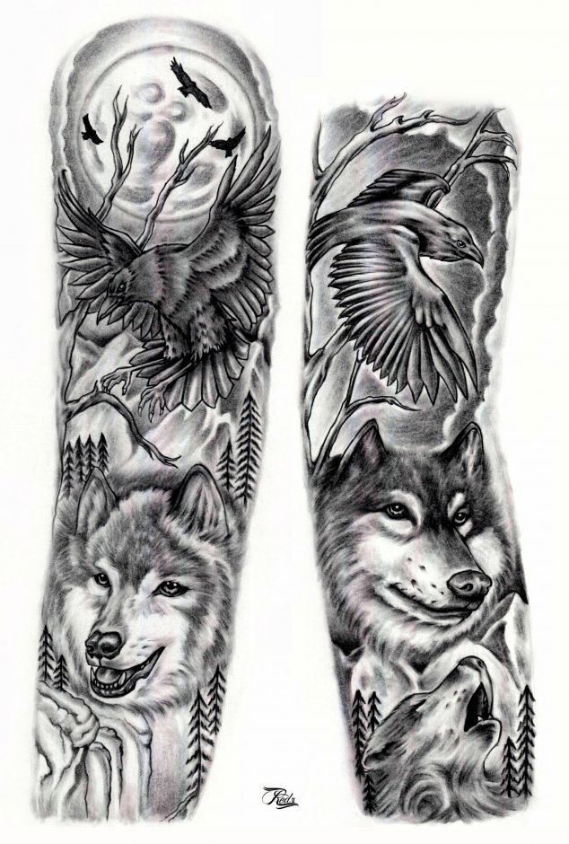Wolf Sleeve Google Search Tattoos Pinterest Sleeve Tattoos