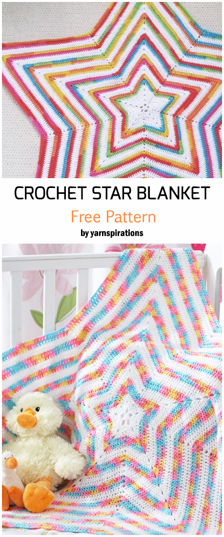 Crochet Start Shaped Baby Blanket - Free Pattern #crochet #crochetpatterns #crochetblanket #babyblanket