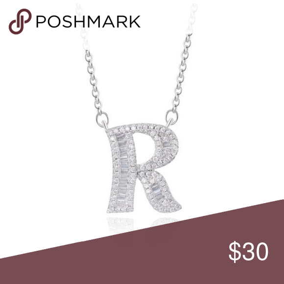 Silver Tone Cz Initial Name Letter R Necklace Bran Womens Jewelry Necklace Necklace Brands Initials