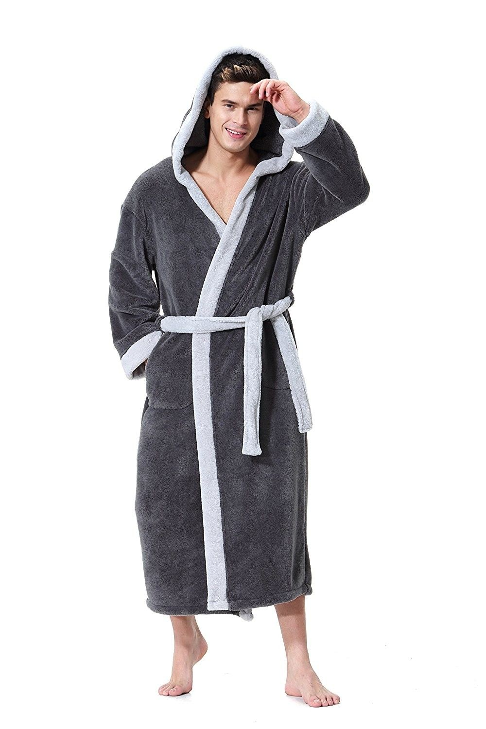 43b6cbdd49 Mens hooded bathrobe gray light gray soft spa kimono shawl jpg 1000x1500 Long  hooded robe men