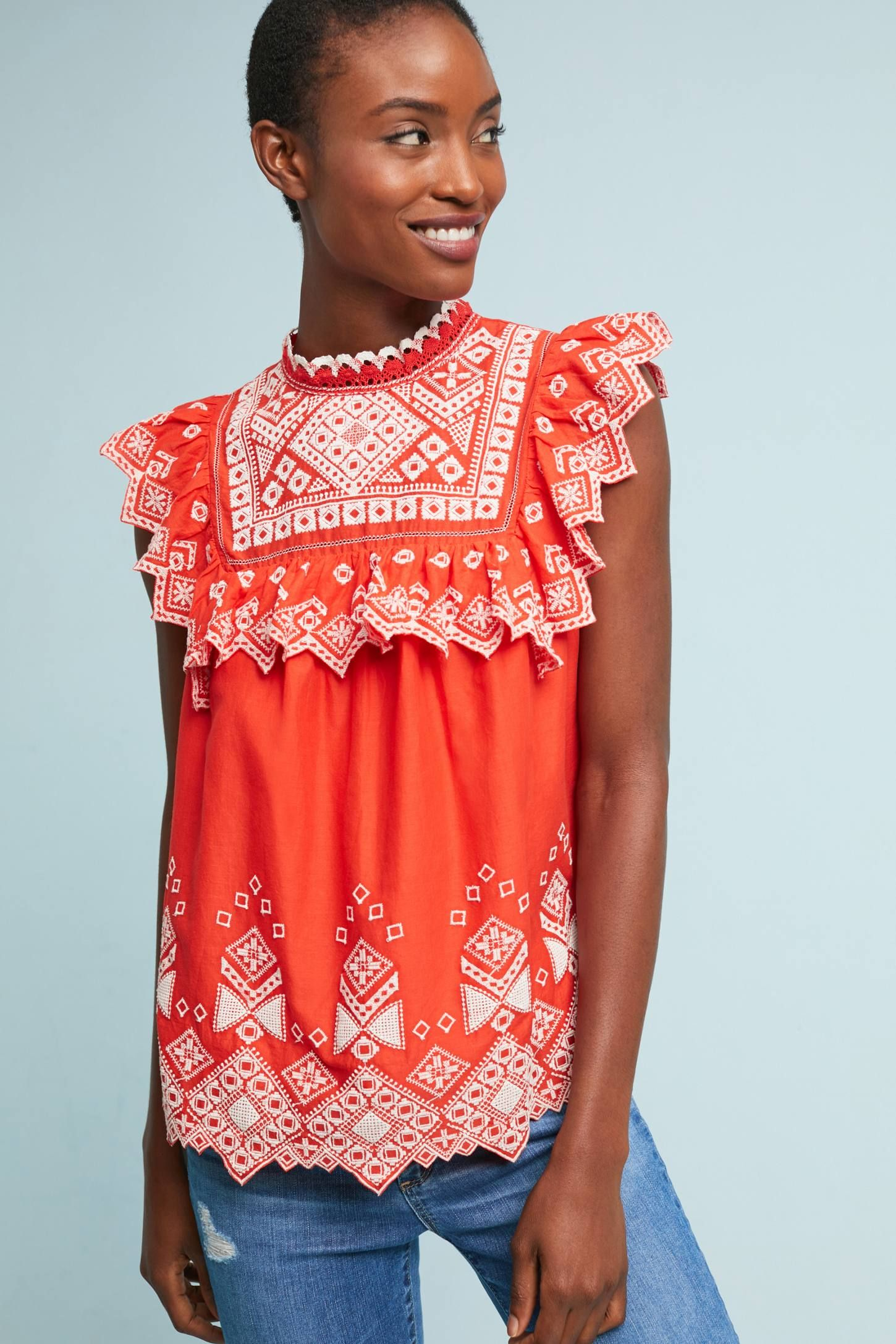 Briar Embroidered Blouse Anthropologie Wardrobes and Spring