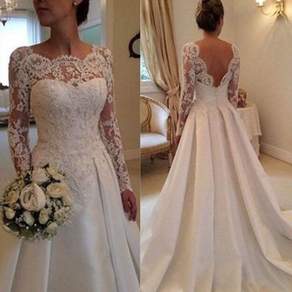 No lace wedding dress october 2018 Long Aline Full Length Round Neck Long Sleeve Lace Top Satin