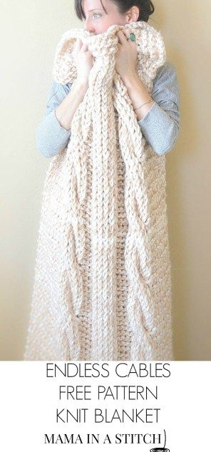 Endless Cables Chunky Knit Throw Pattern | Cable knit blankets ...