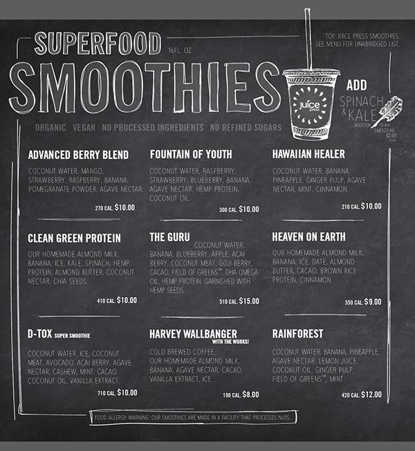 Https Www Behance Net Gallery 23570677 Juice Press Pseudo Chalk Menu Boards Juice Bar Design Juice Menu Smoothie Menu