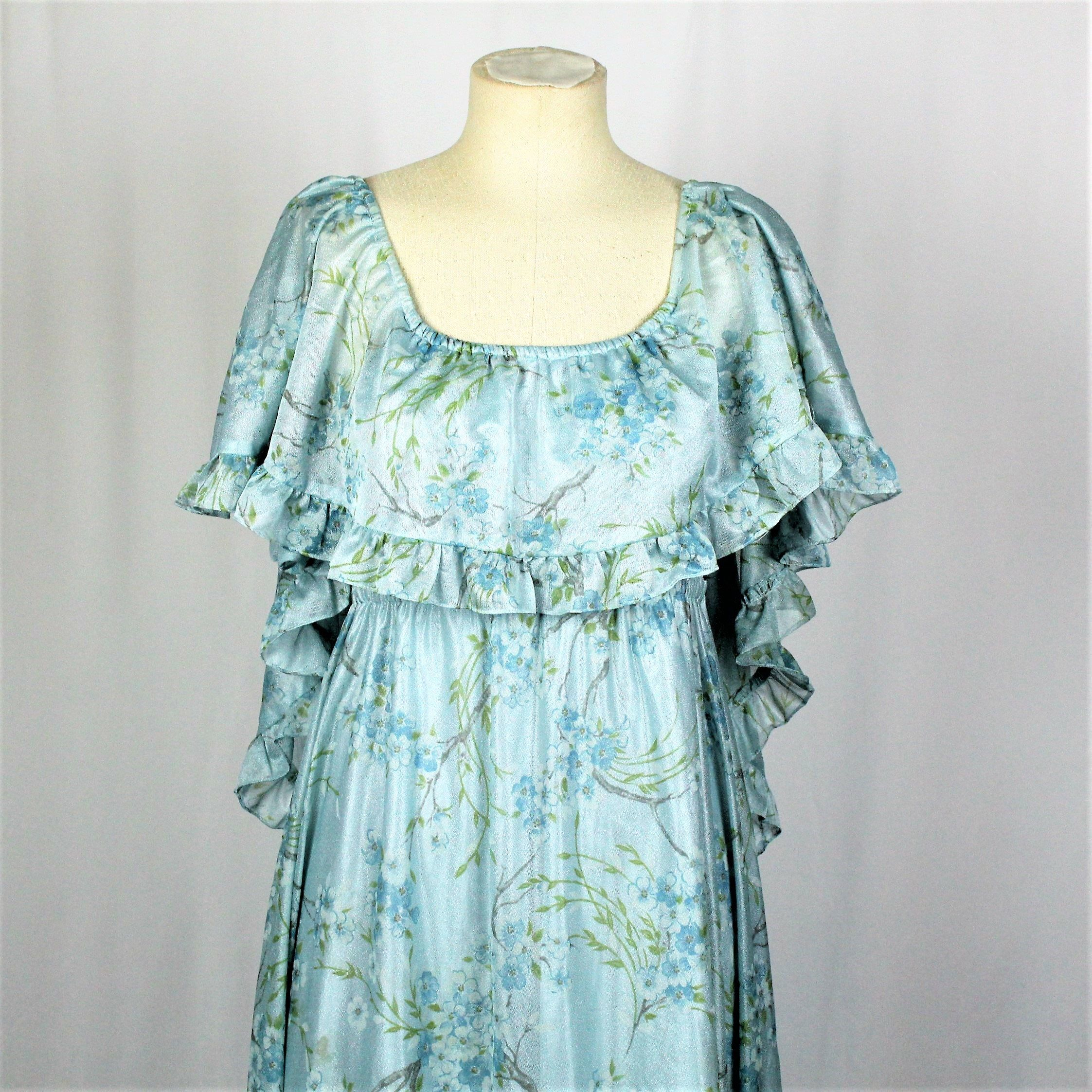 1970s Vintage Blue Floral Prom Dress. Nature Inspired Cape Back Gown ...