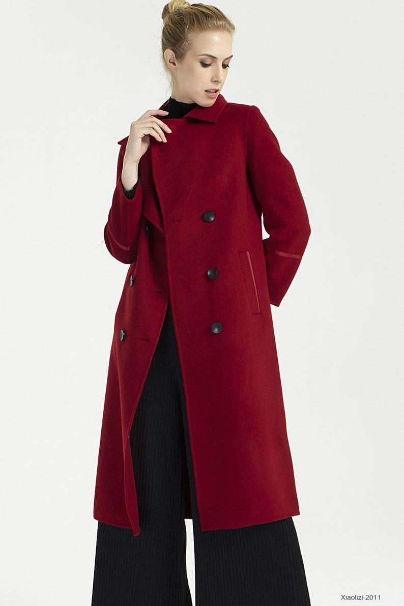 Ladies Winter Coats Long Wool Coat Red Coat Womens Coats Winter Overcoat Double Breasted Coat Winter Coats Women Long Wool Coat Coats For Women