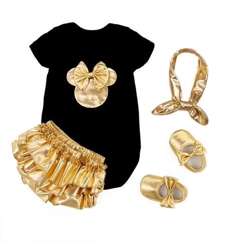 2016 Baby Girl Clothing 4pcs Sets Black Cotton Rompers Golden Ruffle Bloomers Shorts Shoes with  Gold Headband / Infant Newborn Clothes