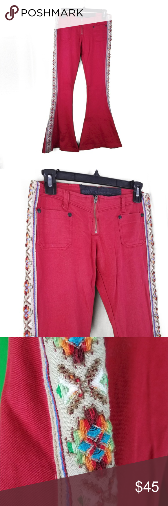 One Teaspoon Red Bell Bottom Jeans Xs S Embroidery Aztec Fashion Clothes Design Bell Bottom Jeans
