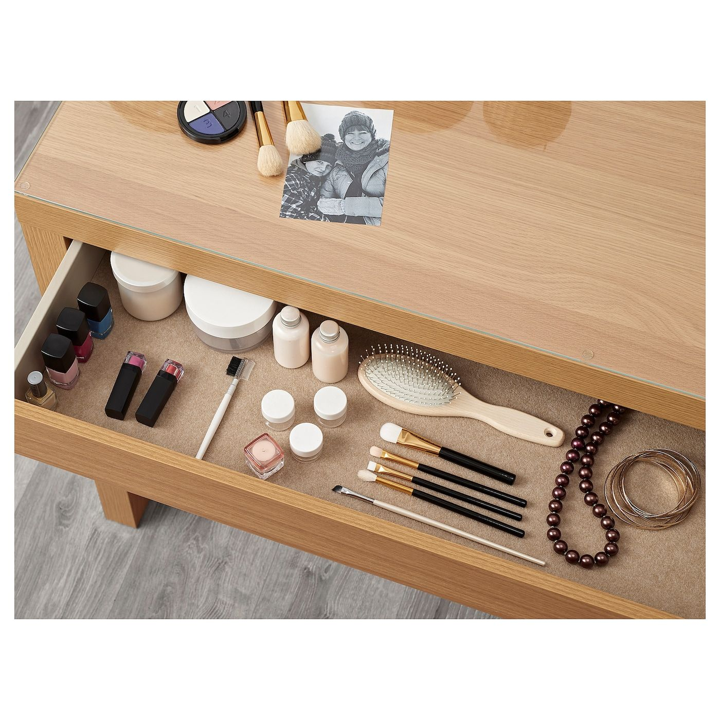 MALM oak veneer, Dressing table, 120x41 cm - IKEA