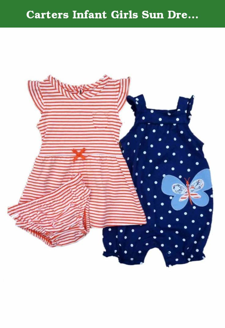 d723730f2392 Carters Infant Girls Sun Dress Butterfly Romper   Diaper Cover 3 PC Set  Newborn. This