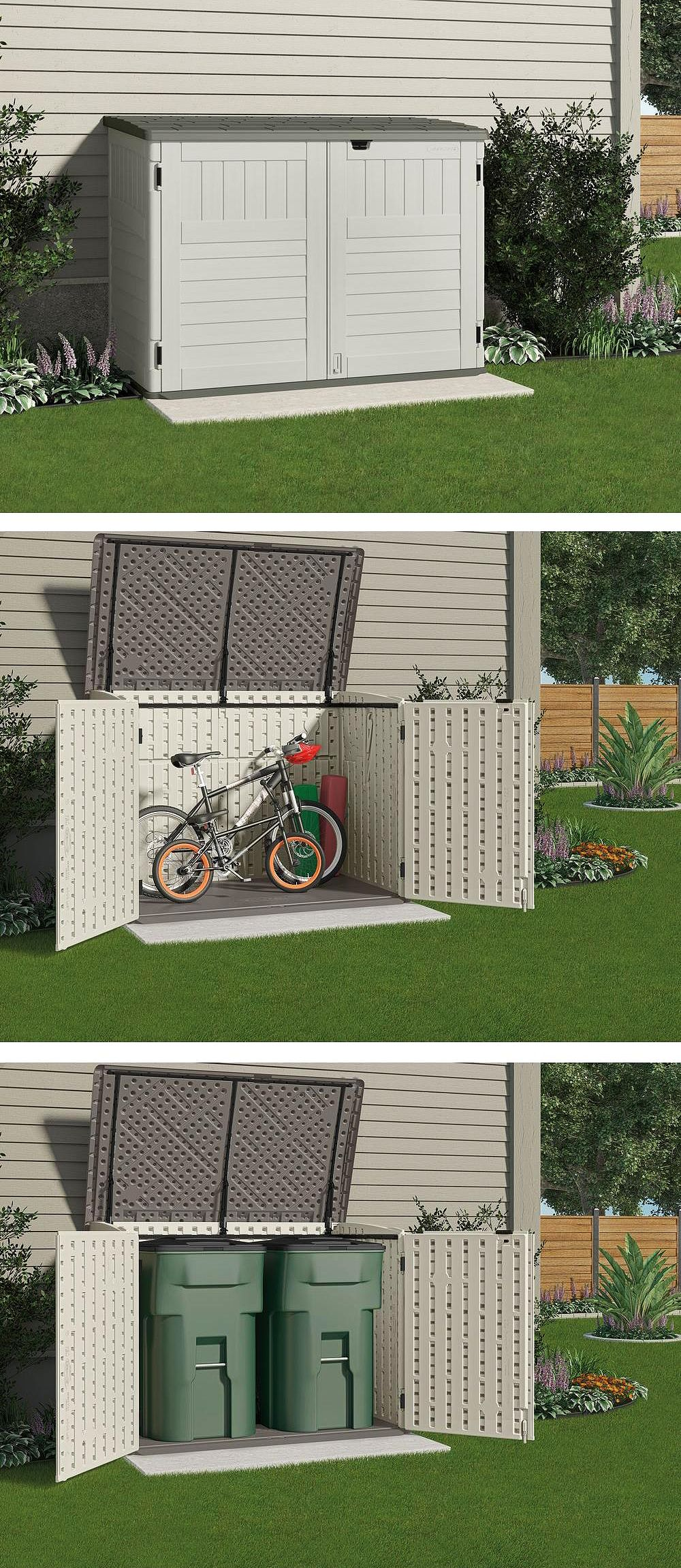 This small storage shed is just the right size to store your bicycles safely or to hide garbage cans it wont take up a lot of room from your backyard or