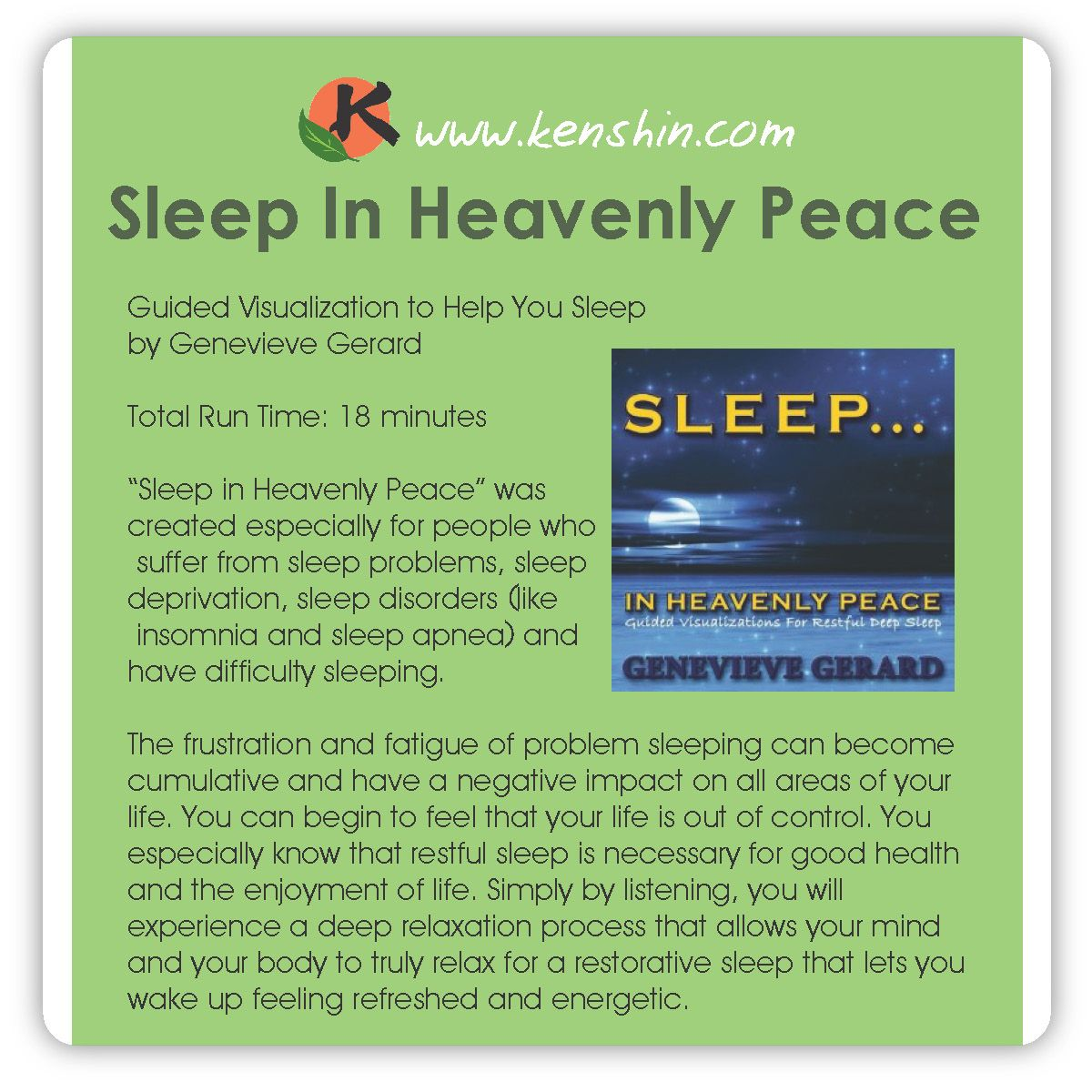 Sleep in Heavenly Peace <3 A Guided Visualization. Get yours at kenshin.com today!