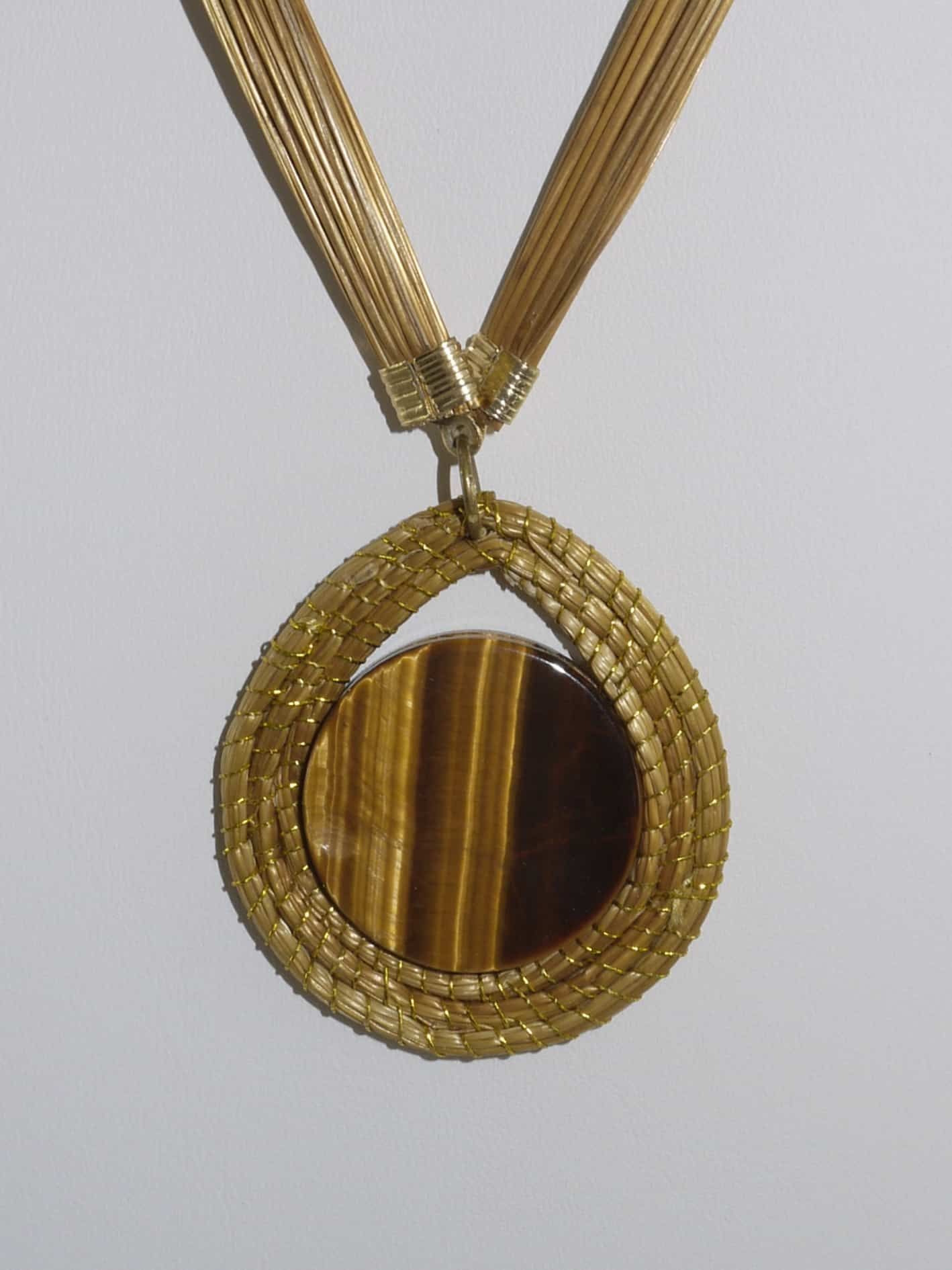 Photo of Golden Grass Tigers Eye Long Pendant Necklace