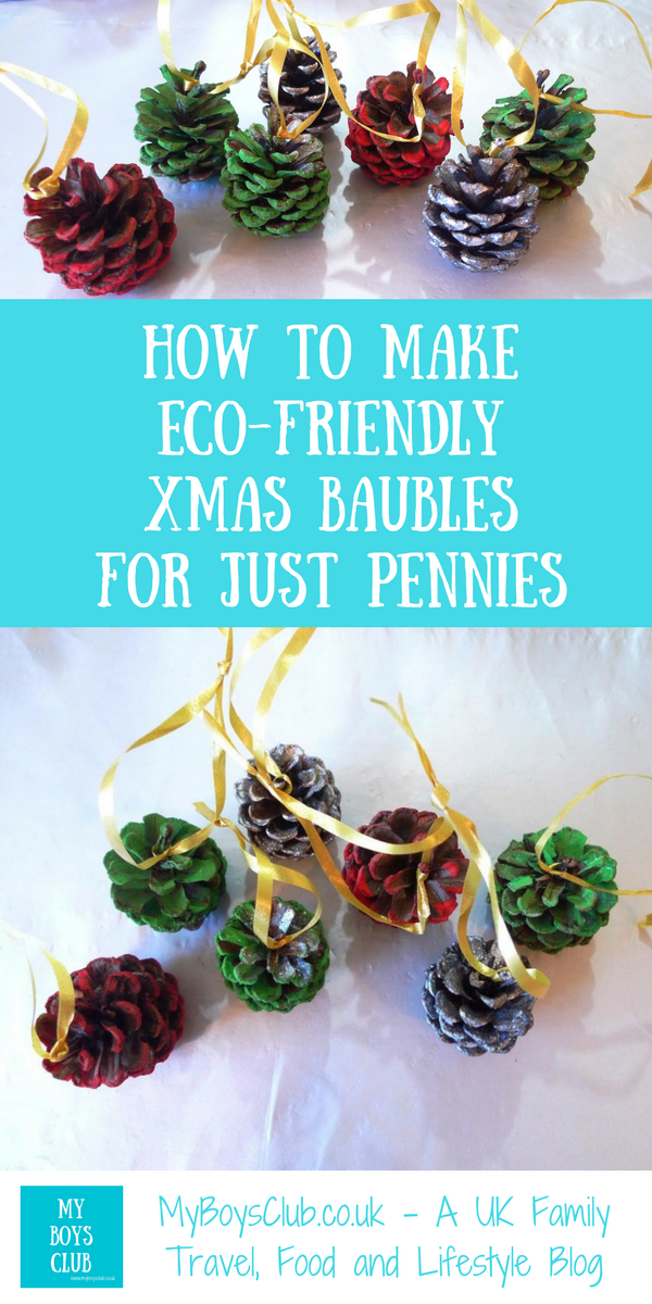 How your kids can make Christmas baubles from pine cones that are both environmentally friendly and frugal  AND look amazing!