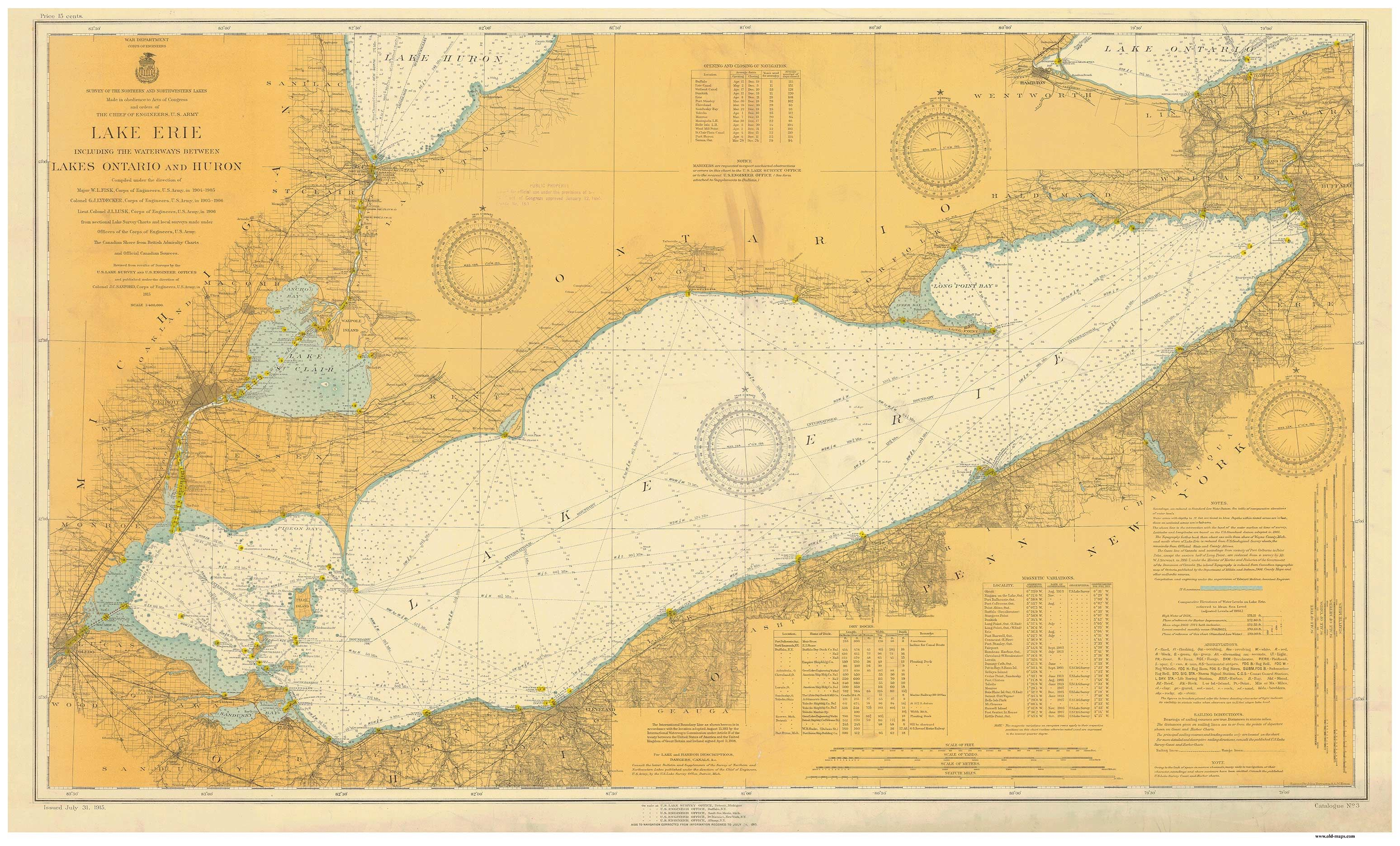 1915 Nautical chart of Lake Erie 22 x 36 20 (almost