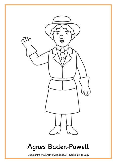 Agnes Baden Powell colouring page Girl Guides Pinterest