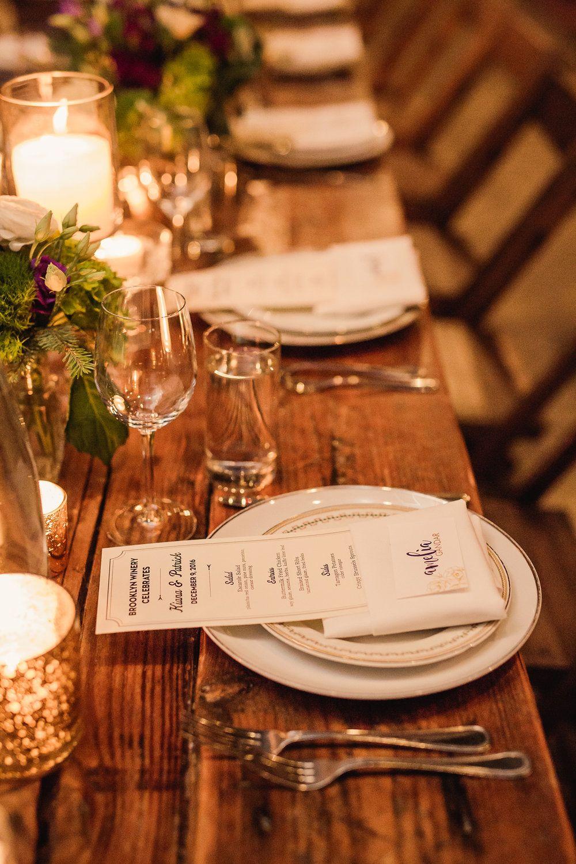 Kiana & Patrick Brooklyn winery, Elegant wedding menu