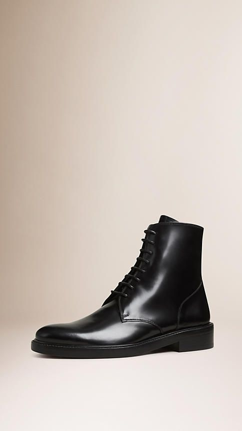 Burberry Leather Lace-Up Boots countdown package online lNdfeFI7s